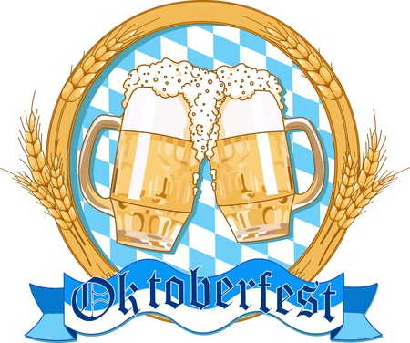 Oktoberfest  label design with beer glasses Vector