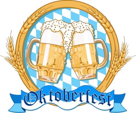 Oktoberfest  label design with beer glasses Stock Vector - 14222604