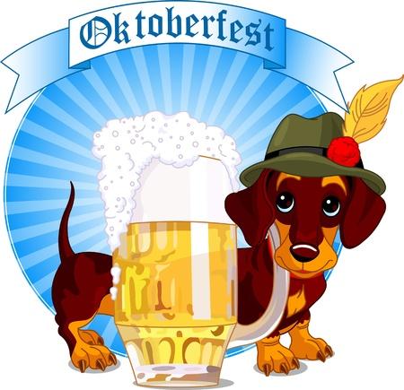 ダックスフント犬とビールのパイントのオクトーバーフェスト デザイン