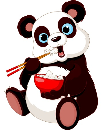 Panda eating rice with chopsticks Illustration