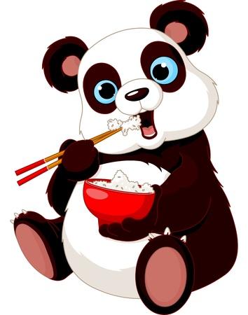 arroz chino: Panda comer arroz con los palillos