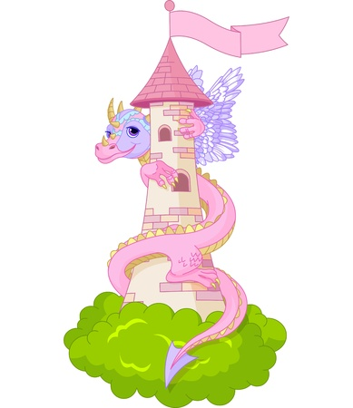 Dragon twists around the tower  Illustration