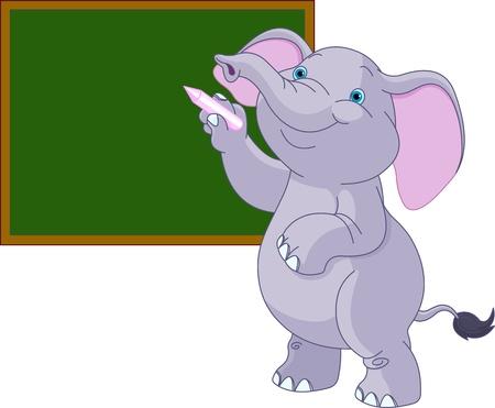 baby on board: Cute elephant writing on blackboard