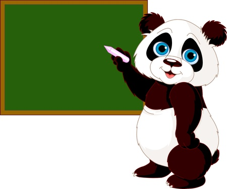 Cute panda writing on blackboard