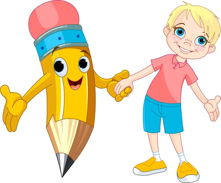 grades: Little boy holding the hand of a giant pencil