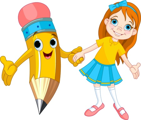 school girl uniform: Bambina tiene la mano di una matita gigante