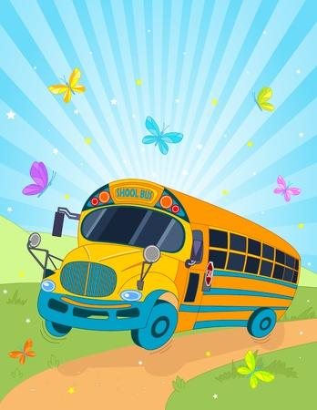 autobus escolar: Color de fondo con el caballo del autobús escolar