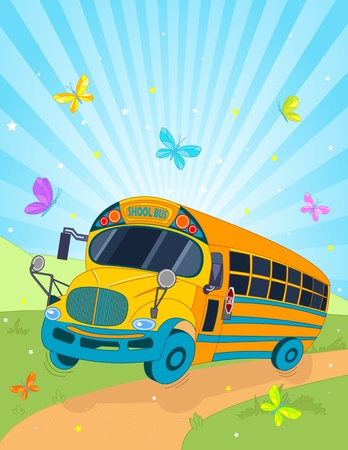 Colorful background with riding school bus Иллюстрация