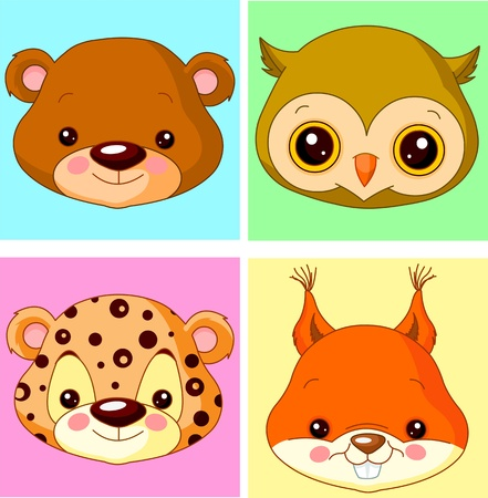Animals cartoon characters for avatar Stock Vector - 14556844