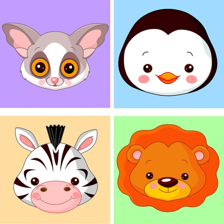 Animals cartoon characters for avatar