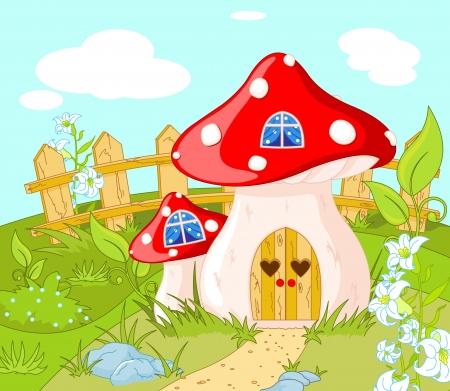paysage dessin anim�: Paysage de bande dessin�e avec une maison de Gnome