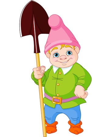 lawn gnome: Illustration of cute Garden Gnome with shovel