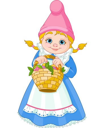 elves: Illustration of cute Garden Gnome Girl with Basket with Flowers and Fruit