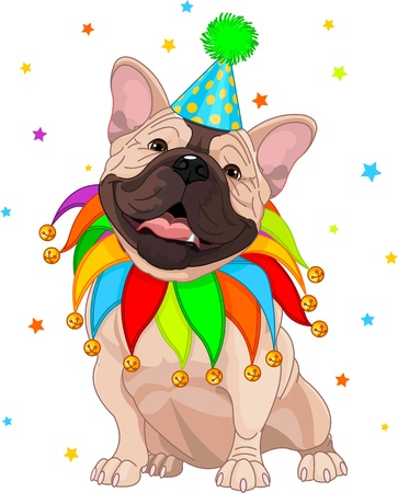 cartoon dog: French dog celebrating  Birthday Illustration