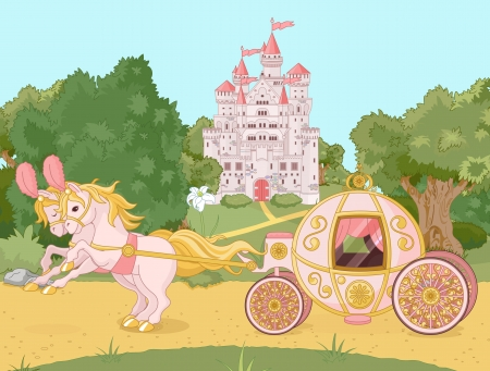 horse drawn carriage: Beautiful  fairytale  pink carriage against the backdrop of a pastoral landscape