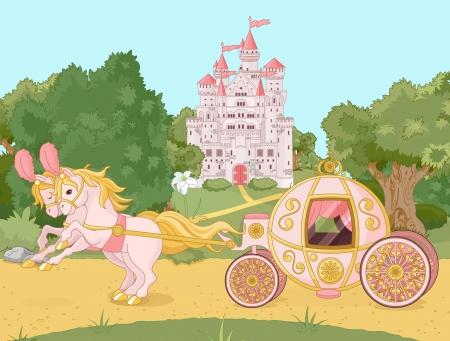 castillos de princesas: Hermoso carro de cuento de hadas de color rosa contra el tel�n de fondo de un paisaje pastoral