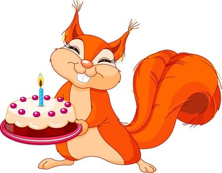 誕生日ケーキを保持している非常にかわいいリスのイラスト
