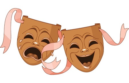 tragedy mask: Tragedy and Comedy Theater masks