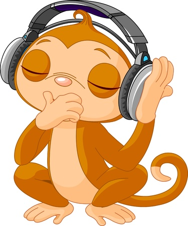 Cute little Monkey listening music with headphones Vector