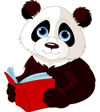 cartoon panda: Cute Panda reading a book Illustration