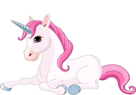 Illustration of adorable sitting Unicorn  Vector