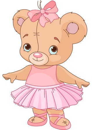 teddy bear cartoon: Very cute Teddy Bear Ballerina