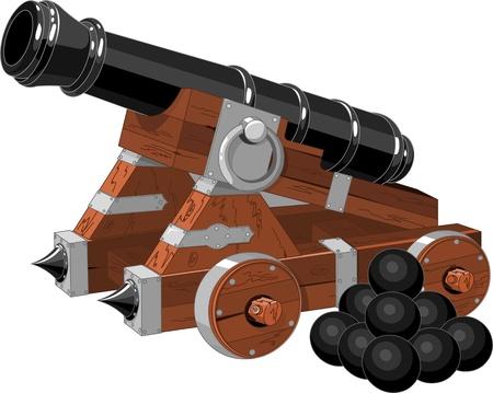 barco pirata: Antiguo cañón pirata barco y balas de cañón