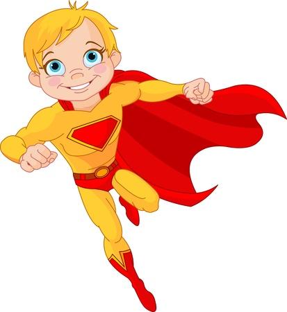 その場でスーパー ヒーロー少年のイラスト  イラスト・ベクター素材