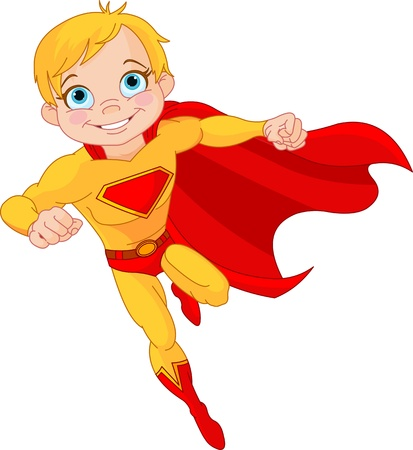 Super: Illustration of Super Hero Boy in the fly Illustration