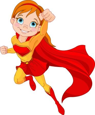 Illustratie van Super Hero Meisje in-the-fly