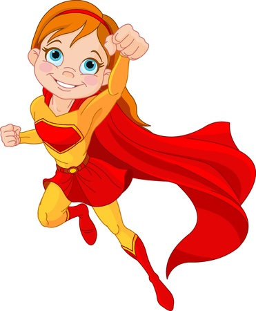 super human: Ilustraci�n de la muchacha del superh�roe en la mosca