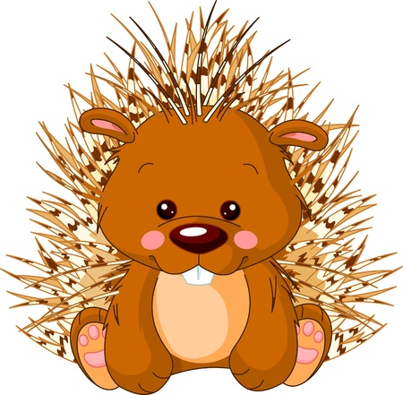 hedges: Fun zoo  Illustration of cute Porcupine