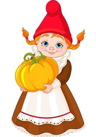 Illustration of cute Garden Gnome Girl with pumpkin