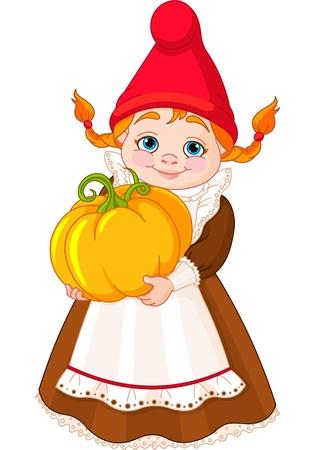 nain de jardin: Illustration de mignon Garden Gnome Fille avec de la citrouille