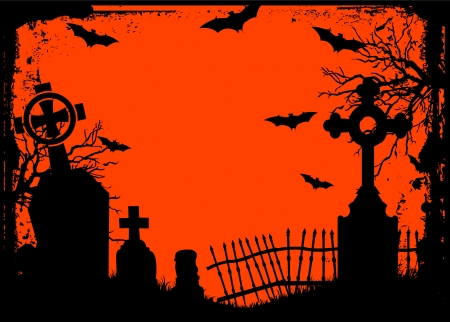 Grunge Halloween cemetery background Illustration
