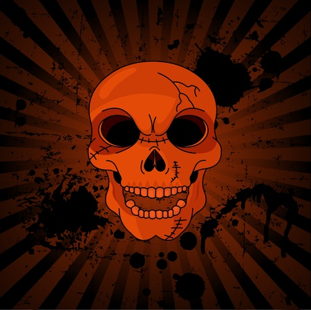 Evil Skull on grange radial background with place for copy text Vector