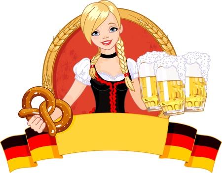 ビールを提供して面白いドイツ少女のイラスト 写真素材 - 14946971