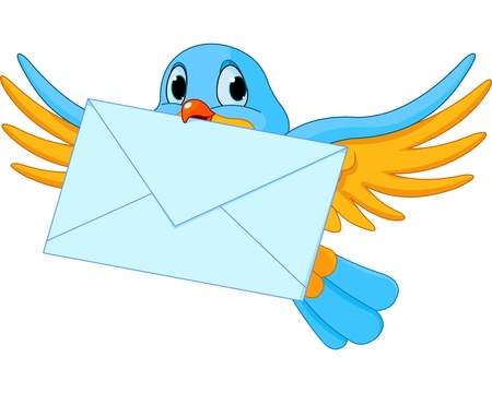 e mail: Illustration of cute bird with letter Illustration