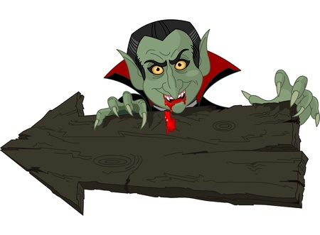 Cartoon Count Dracula over Halloween arrow