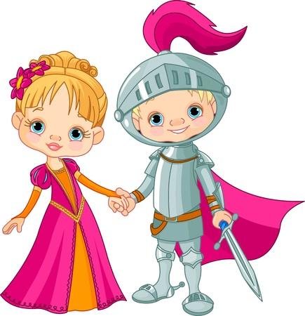 espadas medievales: Los niños lindos vestidos con trajes medievales Vectores
