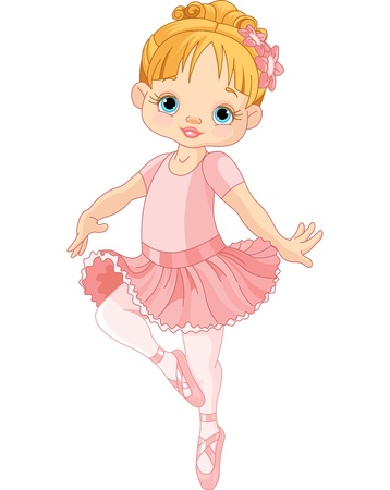 Illustration of Dancing Little Ballerina  Vector