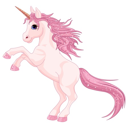 Cartoon  magic unicorn rearing up Vector
