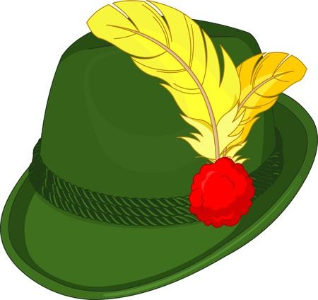 Illustratie van groene Tirol Hat Stock Illustratie