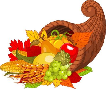 accion de gracias: Ilustración de un cuerno de la abundancia de gracias llena de frutas y verduras de cosecha.