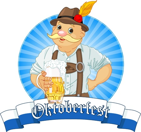 Oktoberfest Bavarian Label with stripe for text Vector
