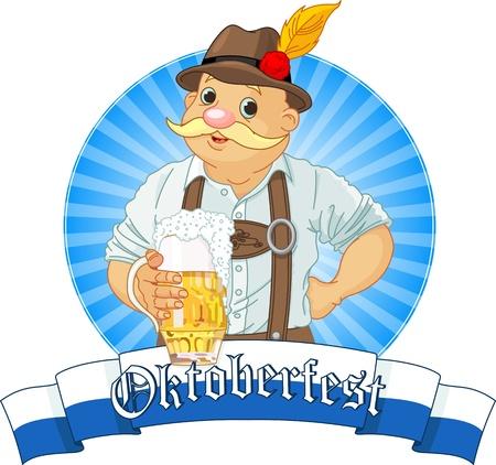 octoberfest: Oktoberfest de Baviera Etiqueta con banda para el texto