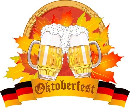 październik: Oktoberfest konstrukcja ze szklanki piwa Ilustracja
