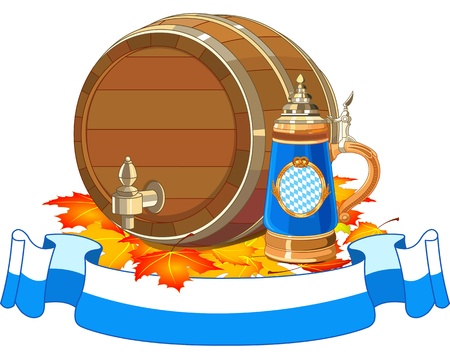 Decorative Oktoberfest design with beer keg and mug Vector