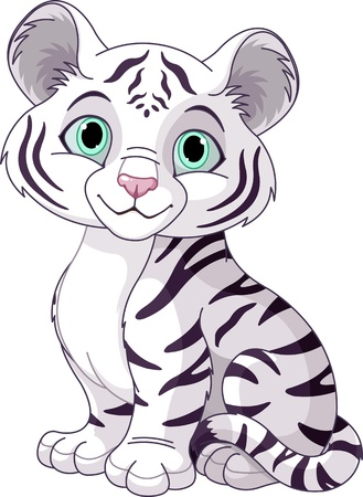 cub: Cute white tiger cub