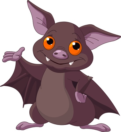 Cute Cartoon Halloween bat presenting  Vector